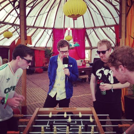 Squarehead's Ruan Van Vliet presides over a heated clash of the titans - 2XM's Danny Carroll versus Squarehead bassist Ian McFarlane, backstage at the Electric Picnic 2012